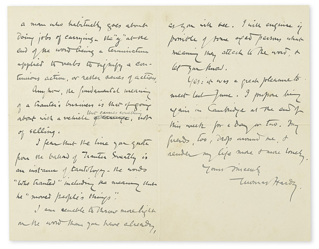 HARDY, THOMAS. Autograph Letter Signed, to Dear Sir James,
