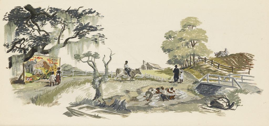 (FILM. AFRICAN-AMERICAN. CINEMA.) ALLEN SAALBURG. Archive of set designs for The Green Pastures.