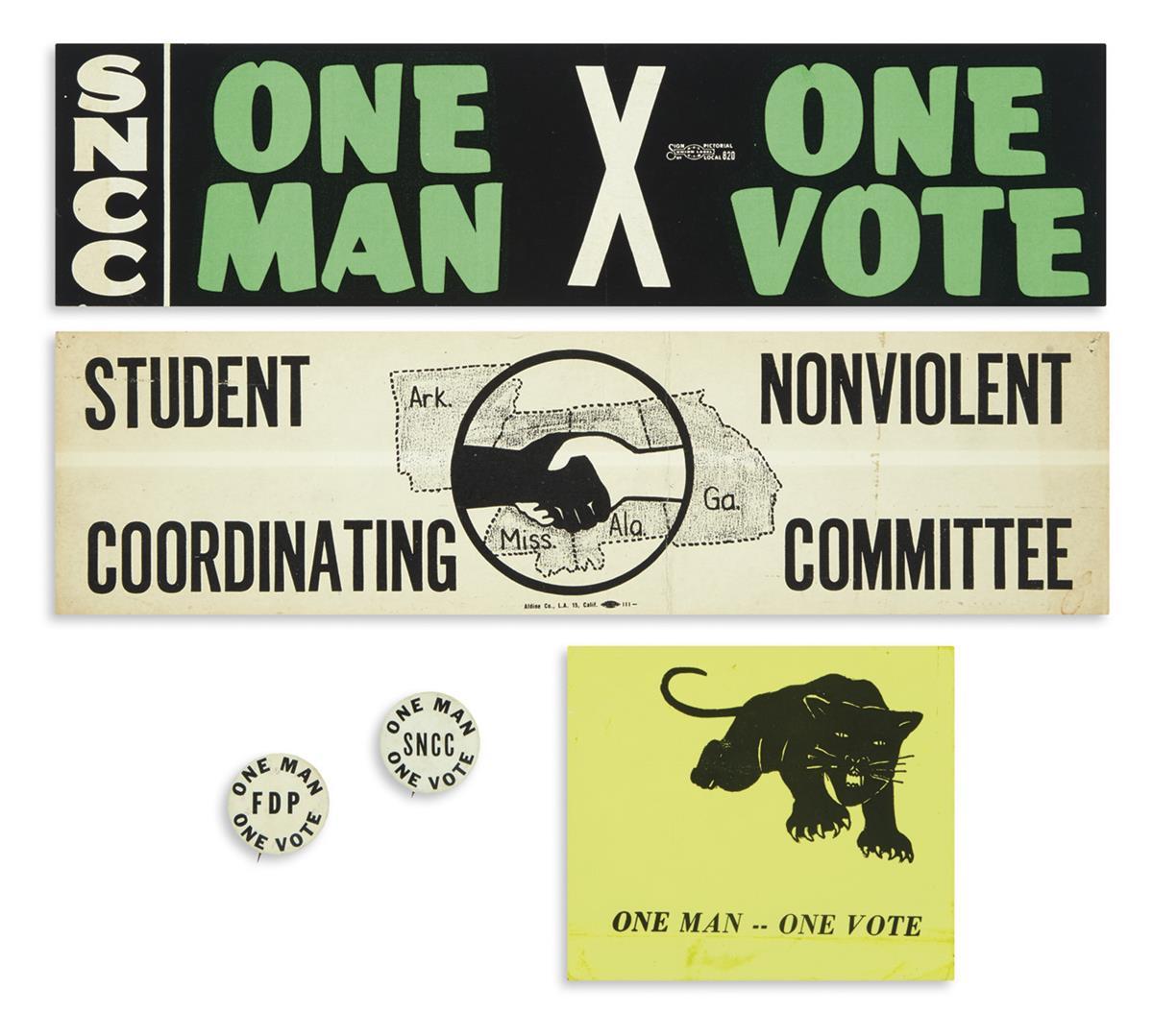 (CIVIL RIGHTS.) Group of One Man, One Vote ephemera.