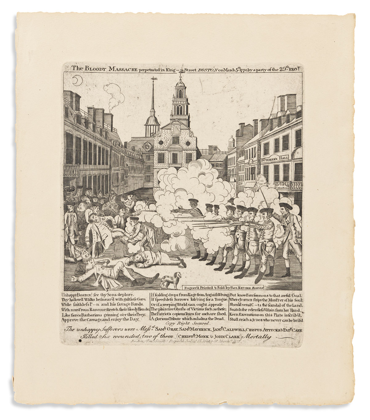 (AMERICAN REVOLUTION--PRELUDE.) [Stratton]; after Paul Revere. The Bloody Massacre Perpetrated in King-Street, Boston.
