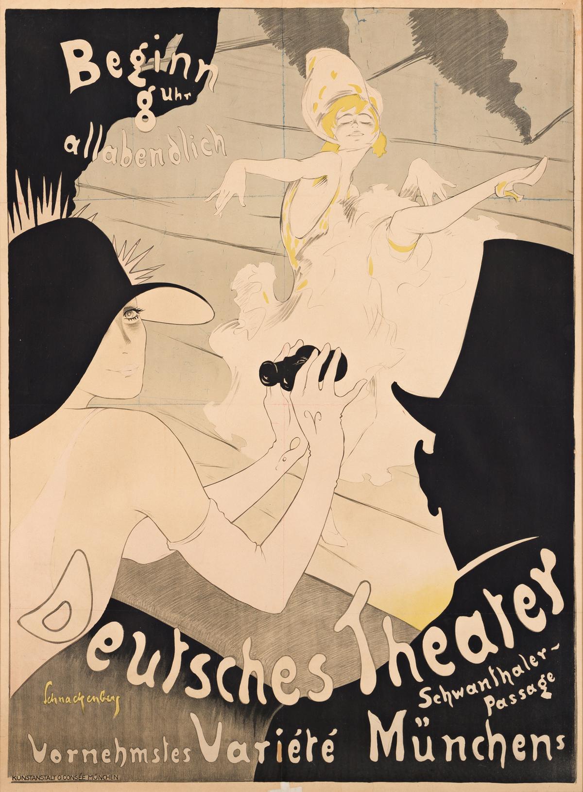 WALTER SCHNACKENBERG (1880-1961).  DEUTSCHES THEATER. 1910. 47¾x35 inches, 121½x89 cm. O. Consée, Munich.