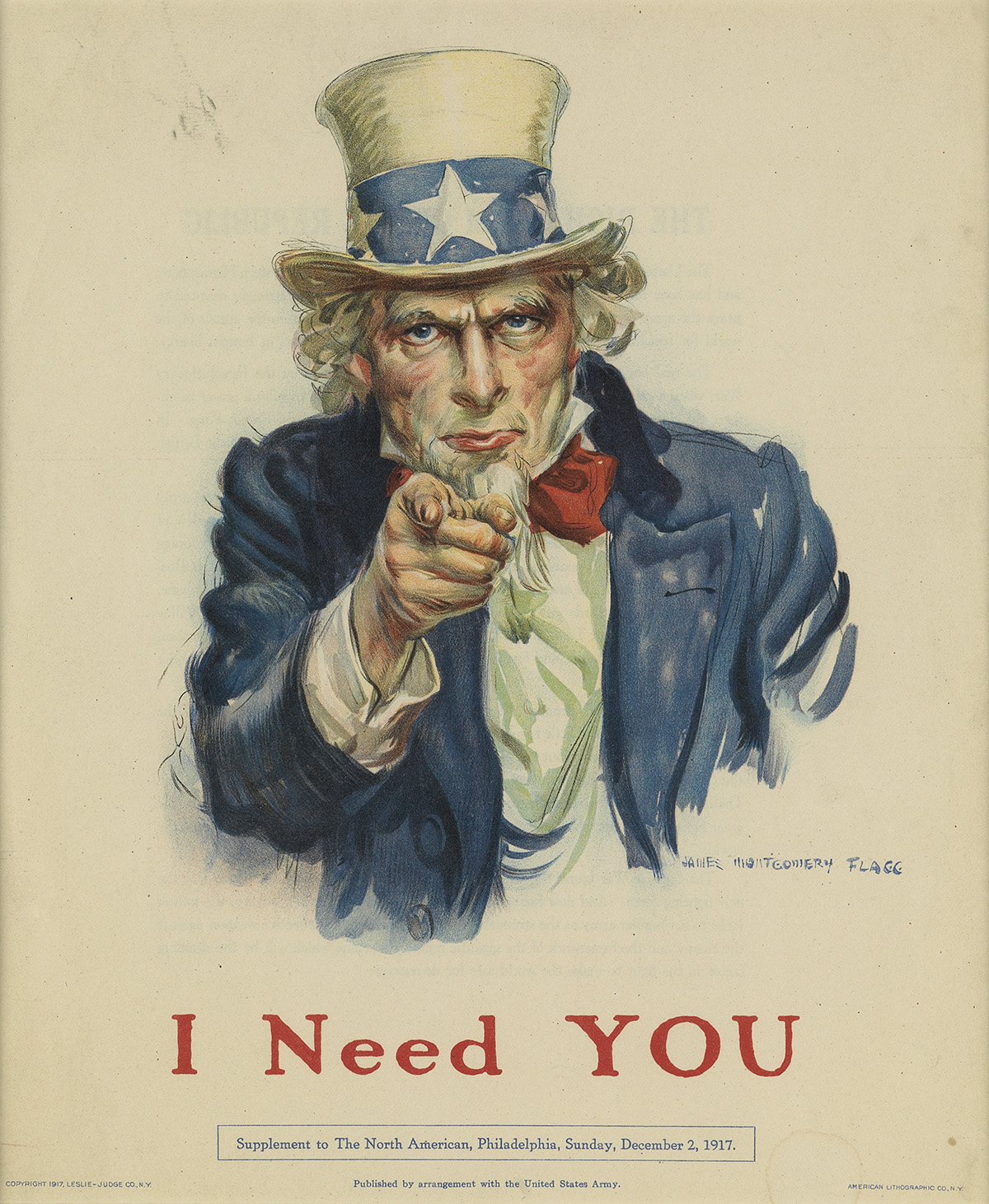 JAMES MONTGOMERY FLAGG (1870-1960). I NEED YOU. Magazine sheet. 1917. 11x9 inches, 29x24 cm. American Lithographic Co., NY.