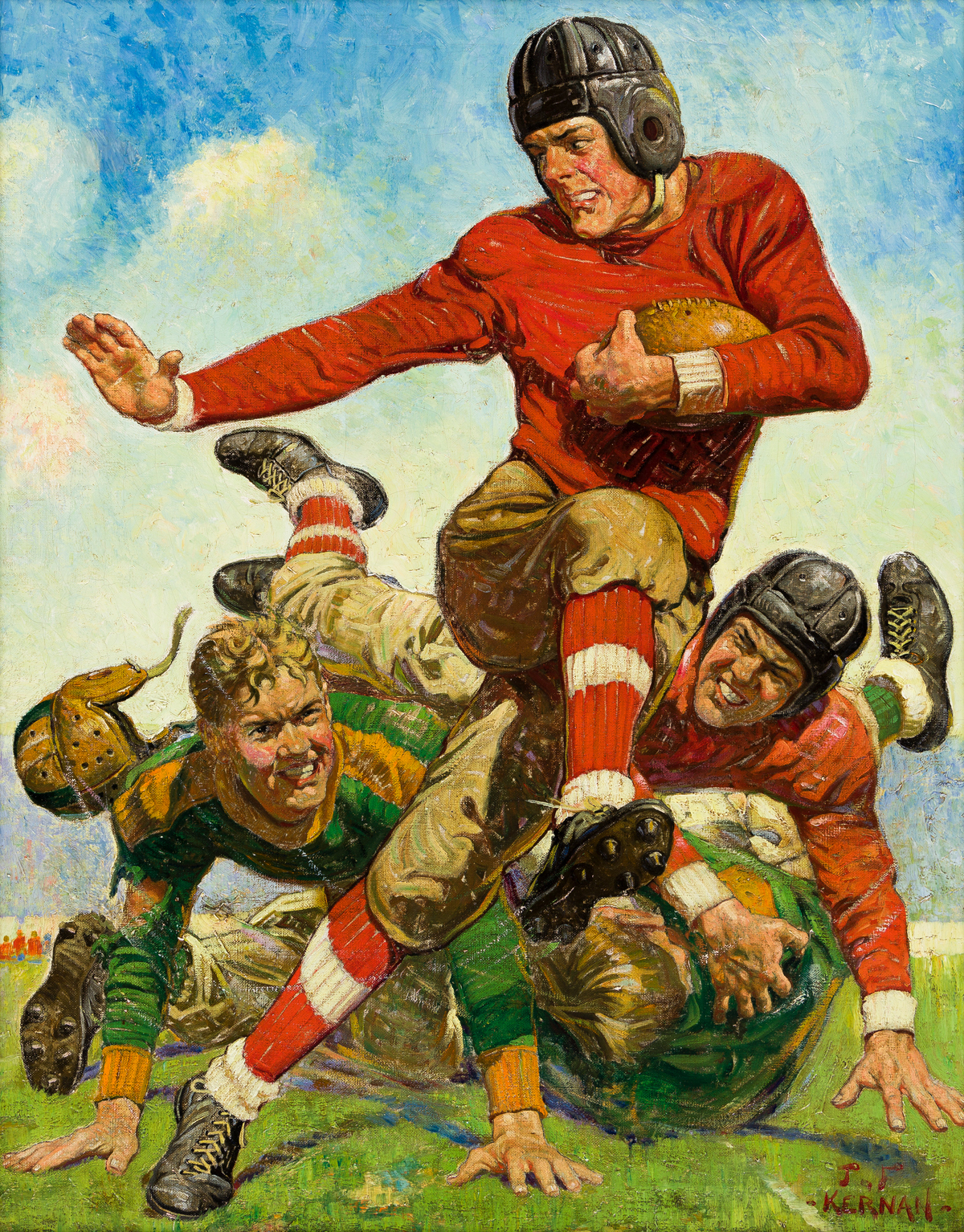 JOSEPH F. KERNAN (1878-1958) College Football. [SATURDAY EVENING POST / COVER ART / HEISMAN]