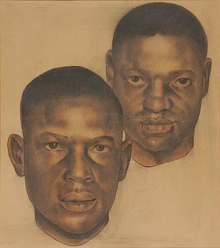 Douglas-Aaron-Untitled-pastel-portrait-of-two-of-the-Scottsb