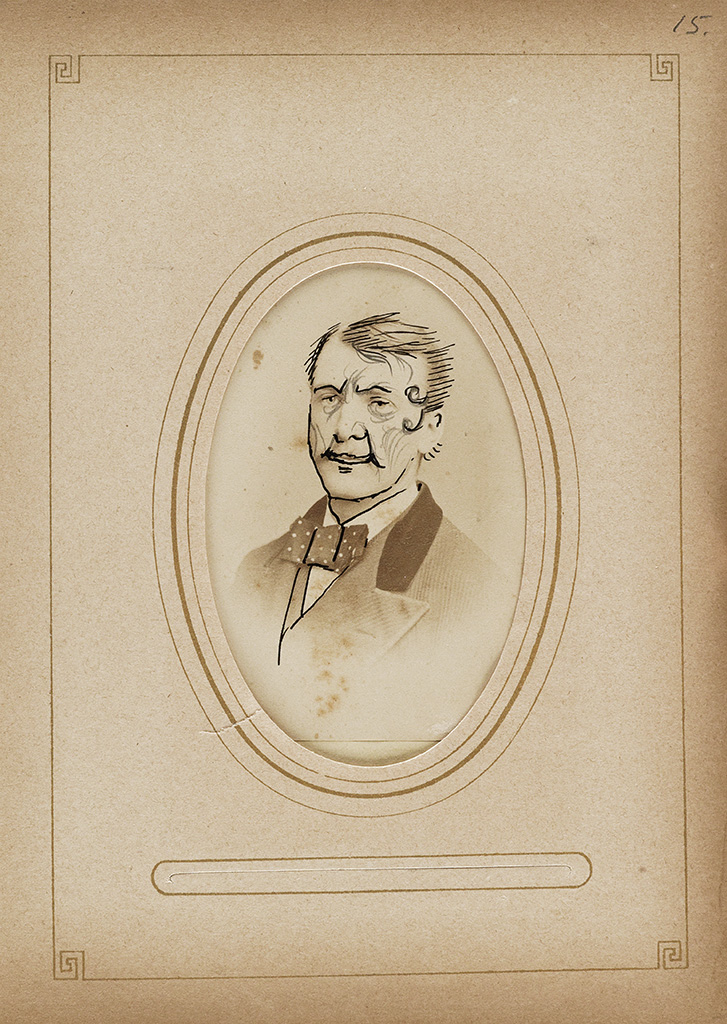 (HUMOR) Period album containing 38 playful images, comprising 4 cartes-de-visite, one tintype and 34