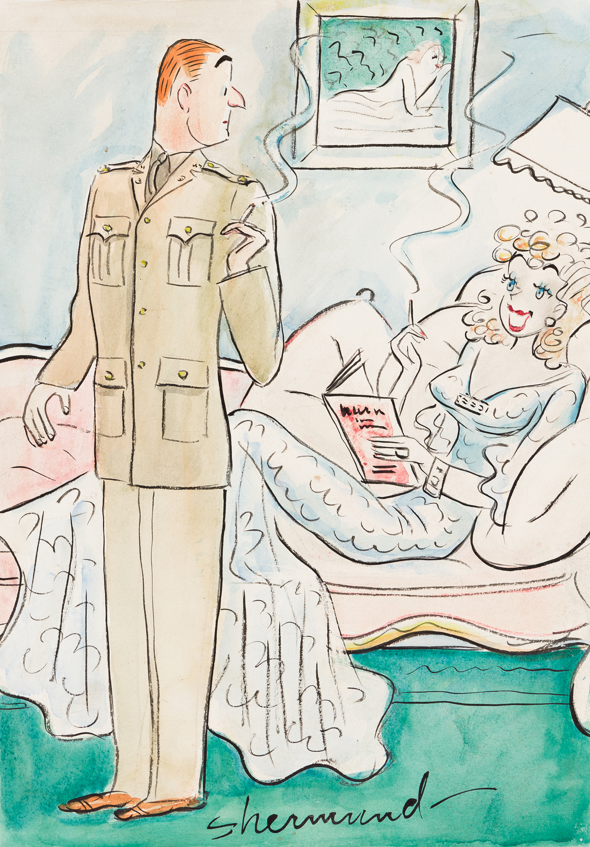 BARBARA SHERMUND (1899-1978) Will they give you a new suit when you get out, dear, like they do in Sing Sing? [CARTOONS]