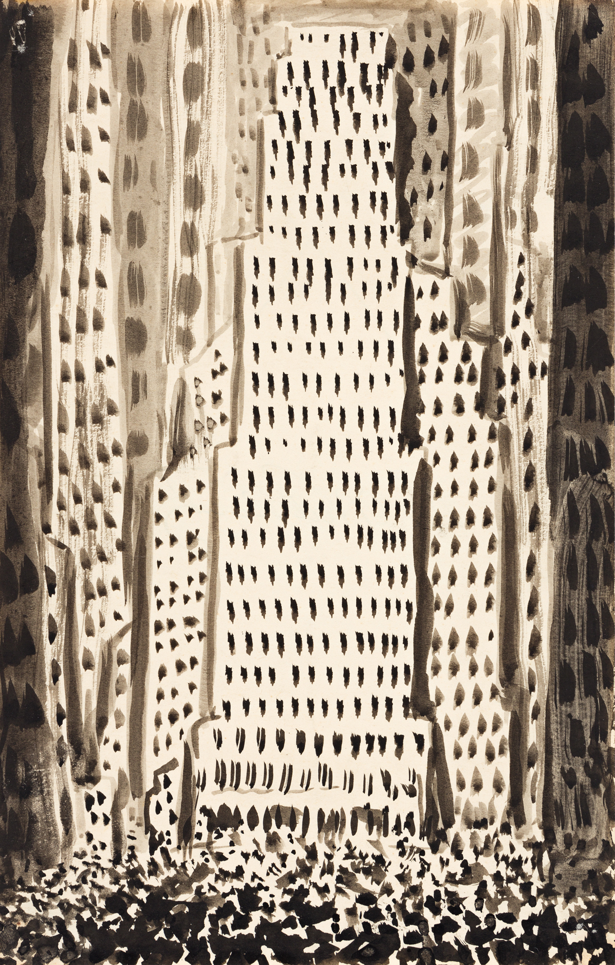 ABRAHAM WALKOWITZ Two cityscape ink drawings.