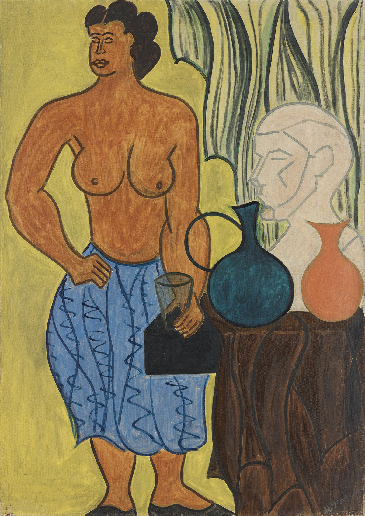 HARTWELL-YEARGANS-(1915---2005)-Untitled-(Nude-with-Sculptur