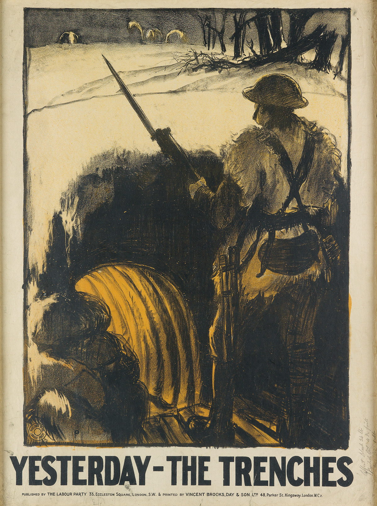 GERALD-SPENCER-PRYSE-(1882-1956)-[YESTERDAY---THE-TRENCHES]--[TO---DAY---UNEMPLOYED]-Two-posters-1923-Each-approximately-39x27-inc