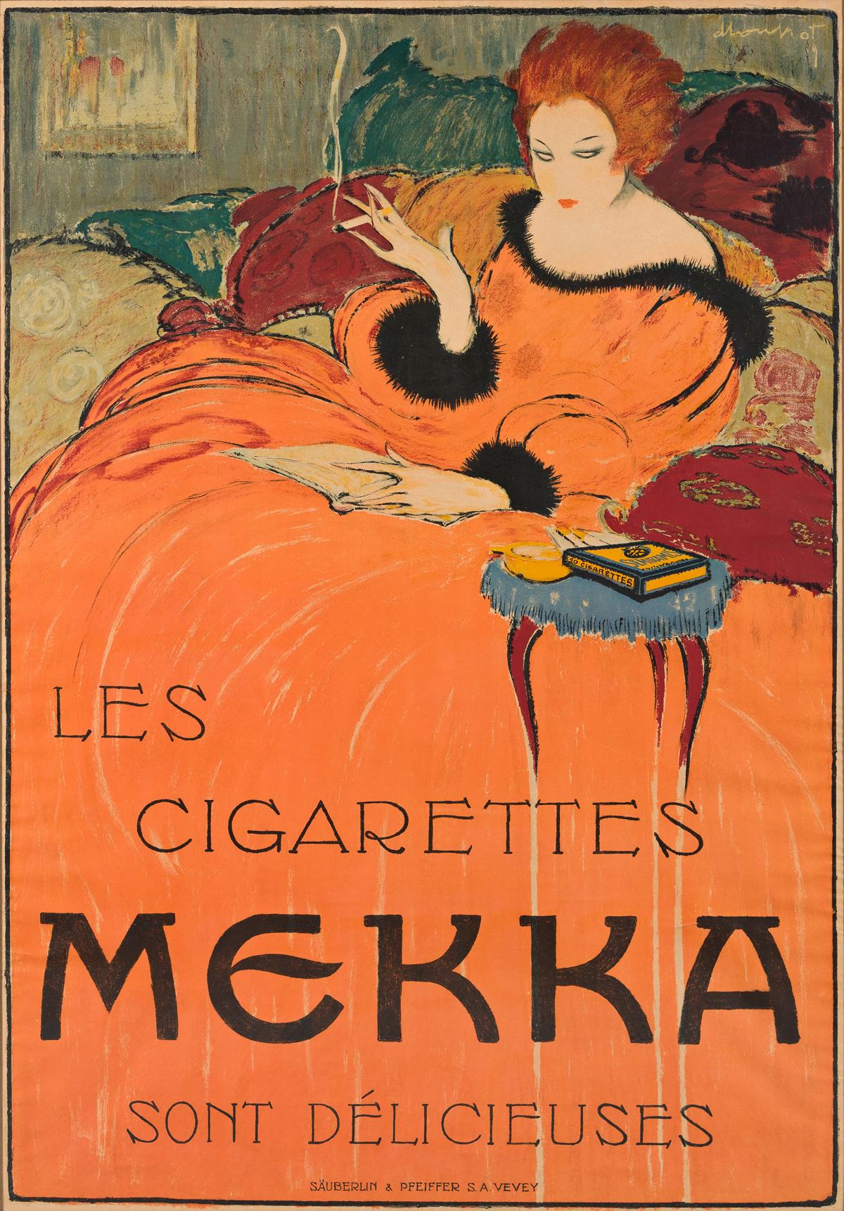CHARLES LOUPOT (1892-1962).  LES CIGARETTES MEKKA. 1919. 50x34½ inches, 127x87½ cm. Säuberlin & Pfeiffer, Vevey.