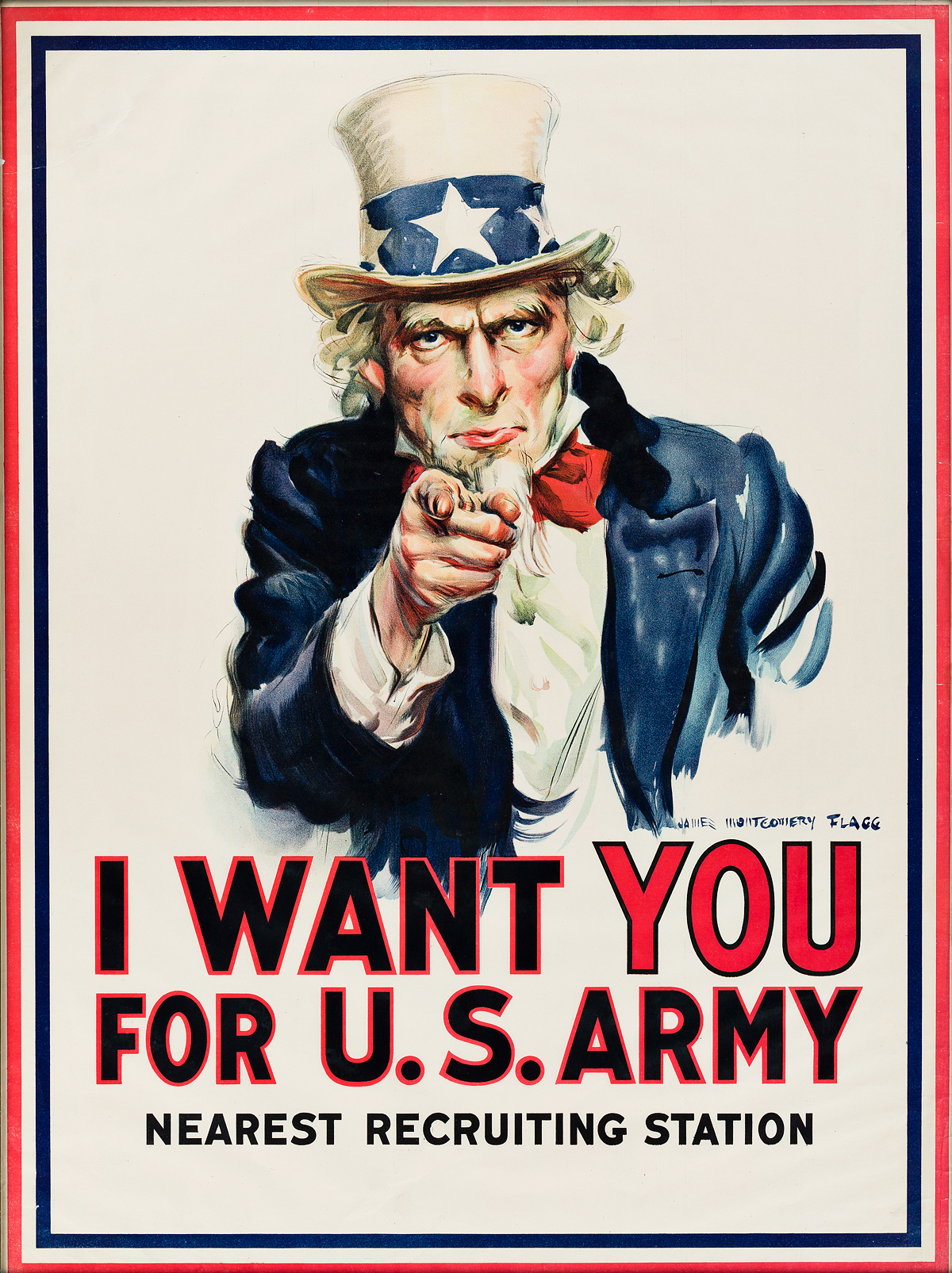 JAMES MONTGOMERY FLAGG (1870-1960). I WANT YOU FOR U.S. ARMY. 1917. 39x29 inches, 100x75 cm. Leslie-Judge Co., New York.