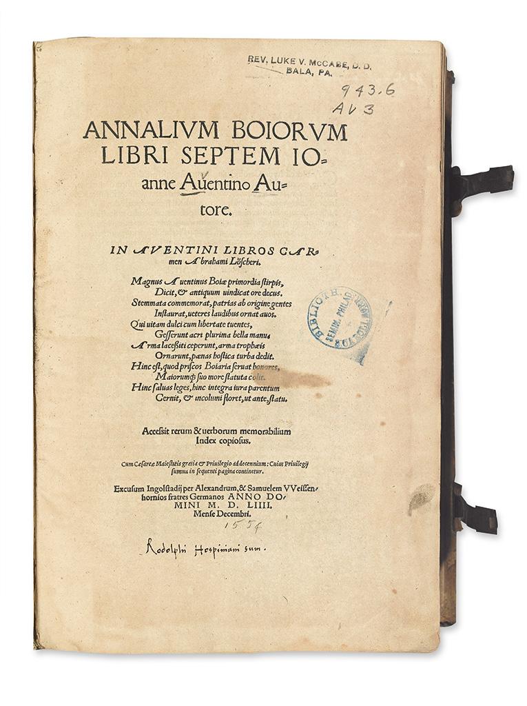 AVENTINUS, JOHANNES. Annalium Boiorum libri septem. 1554. Lacks the portrait.