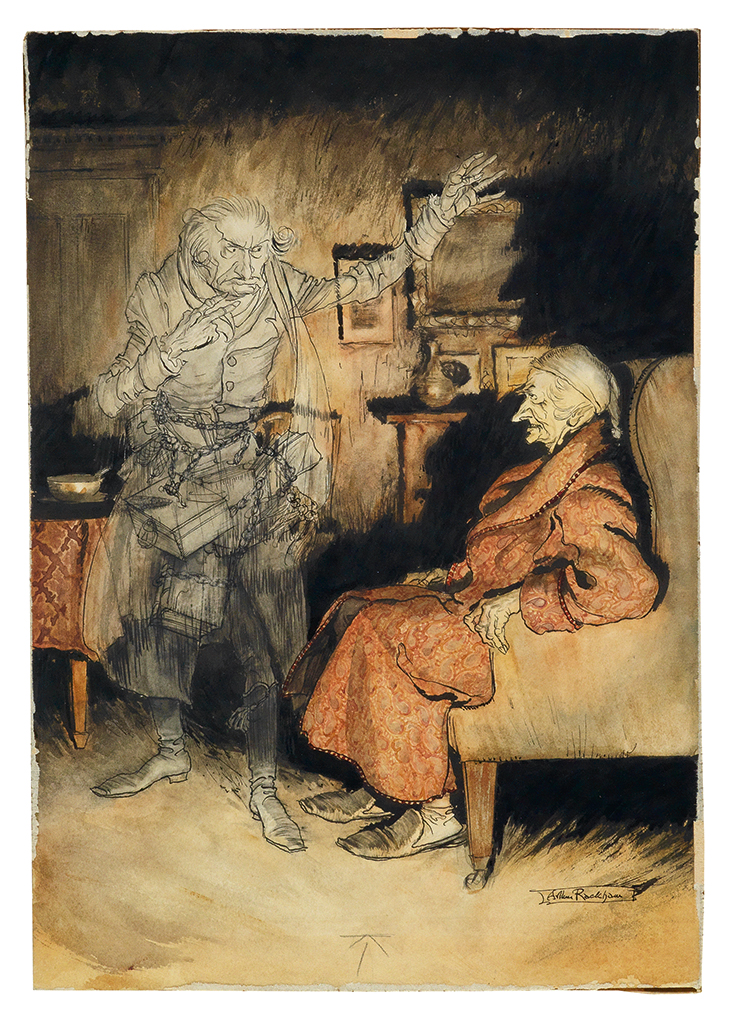ARTHUR RACKHAM. Scrooge and The Ghost of Marley.