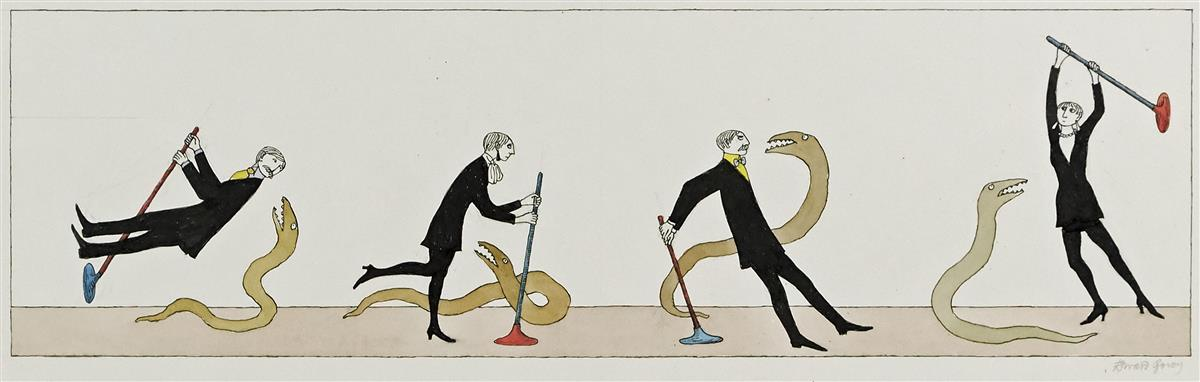 EDWARD GOREY. Suction cups and snakes.