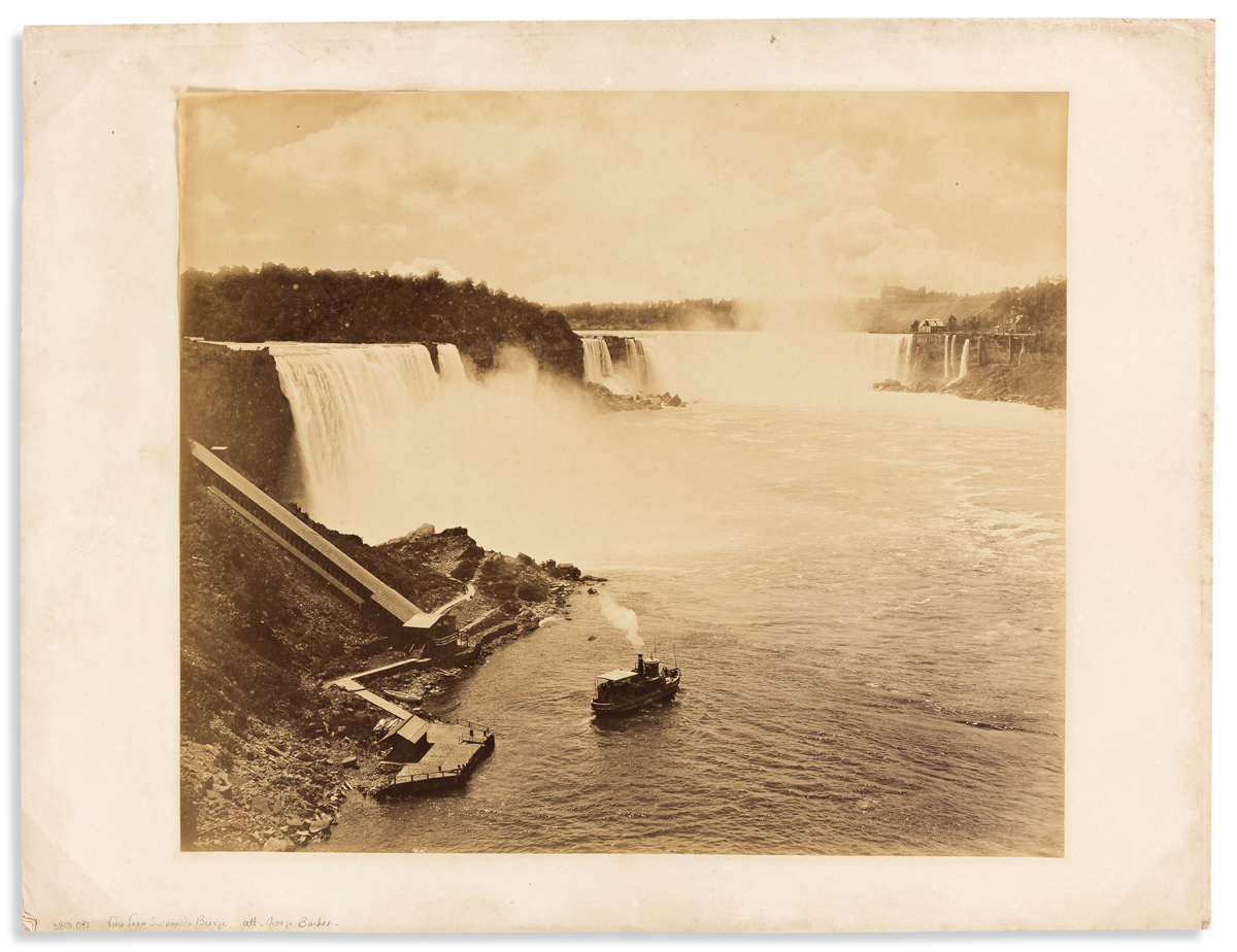 (NEW YORK.) [George Barker, attributed to.] Mammoth photograph of Niagara Falls from the suspension bridge.