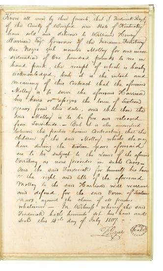 (SLAVERY AND ABOLITION.) HARRISON, WILLIAM HENRY. William Henry Harrison, Governor of the Indiana Territory purchases a Negro girl name