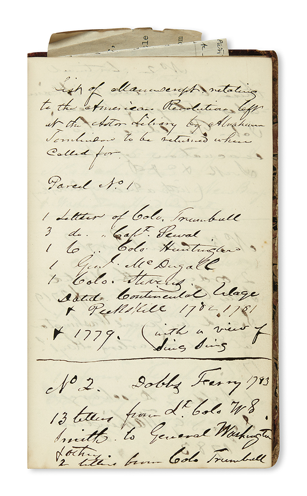 (AMERICAN REVOLUTION--HISTORY.) Tomlinson, Abraham. Inventory of his Revolutionary War manuscript and artifact collection.