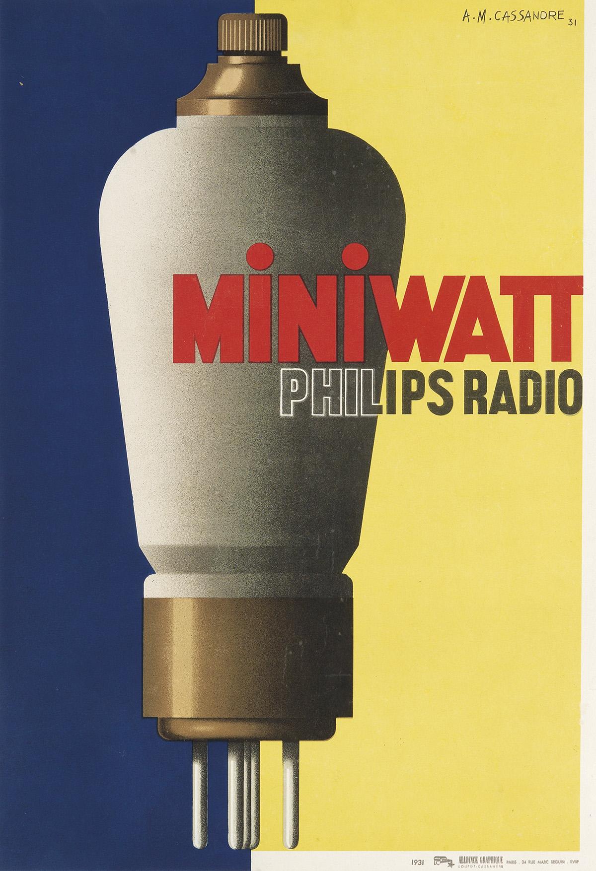 ADOLPHE-MOURON-CASSANDRE-(1901-1968)-MINIWATT--PHILIPS-RADIO
