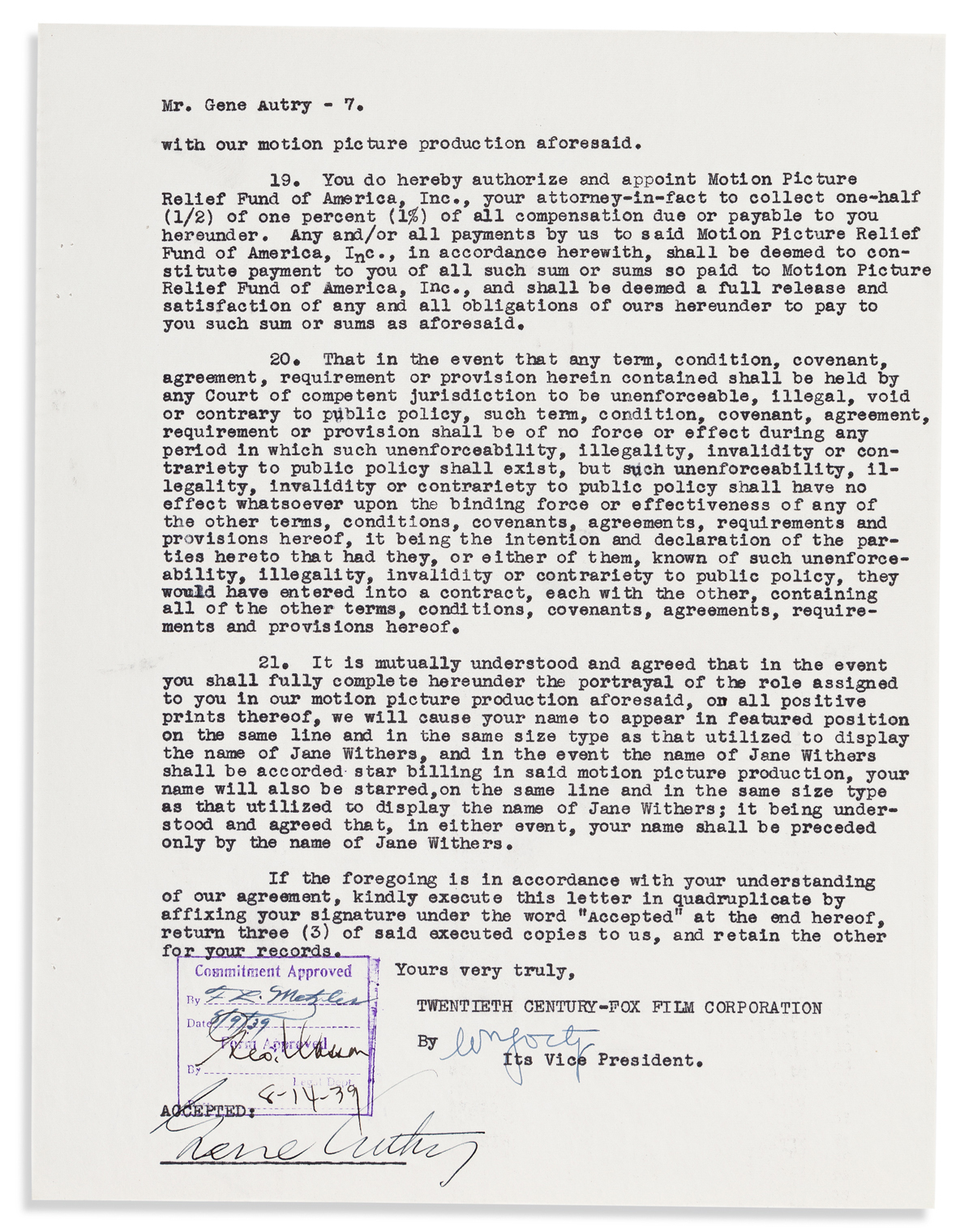 AUTRY, GENE. Typed Document Signed, complete agreement between him and Twentieth Century-Fox Film Corporation for the film Shooting Hig