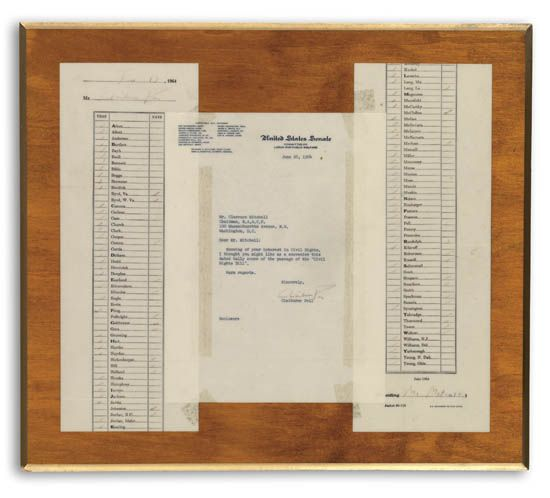 (CIVIL RIGHTS--NAACP.) MITCHELL, CLARENCE. The original tally of the votes, for and against the Civil Rights Act of 1964, as taken on t