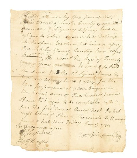 """(SLAVERY AND ABOLITION.) BOONE, SQUIRE. Autograph Document Signed, """"""""Squire Boone,"""""""" selling a male slave to Marsham Brashear for £200."""