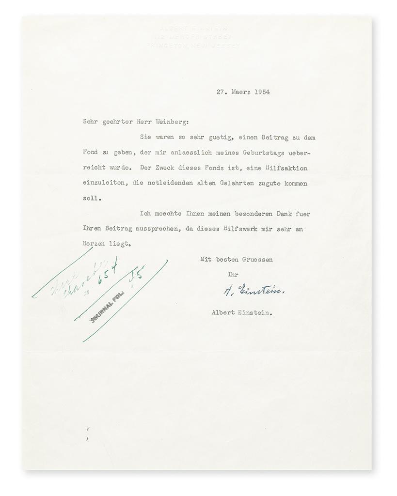 EINSTEIN, ALBERT. Typed Letter Signed, A. Einstein, to Dear esteemed Mr. Weinberg, in German,
