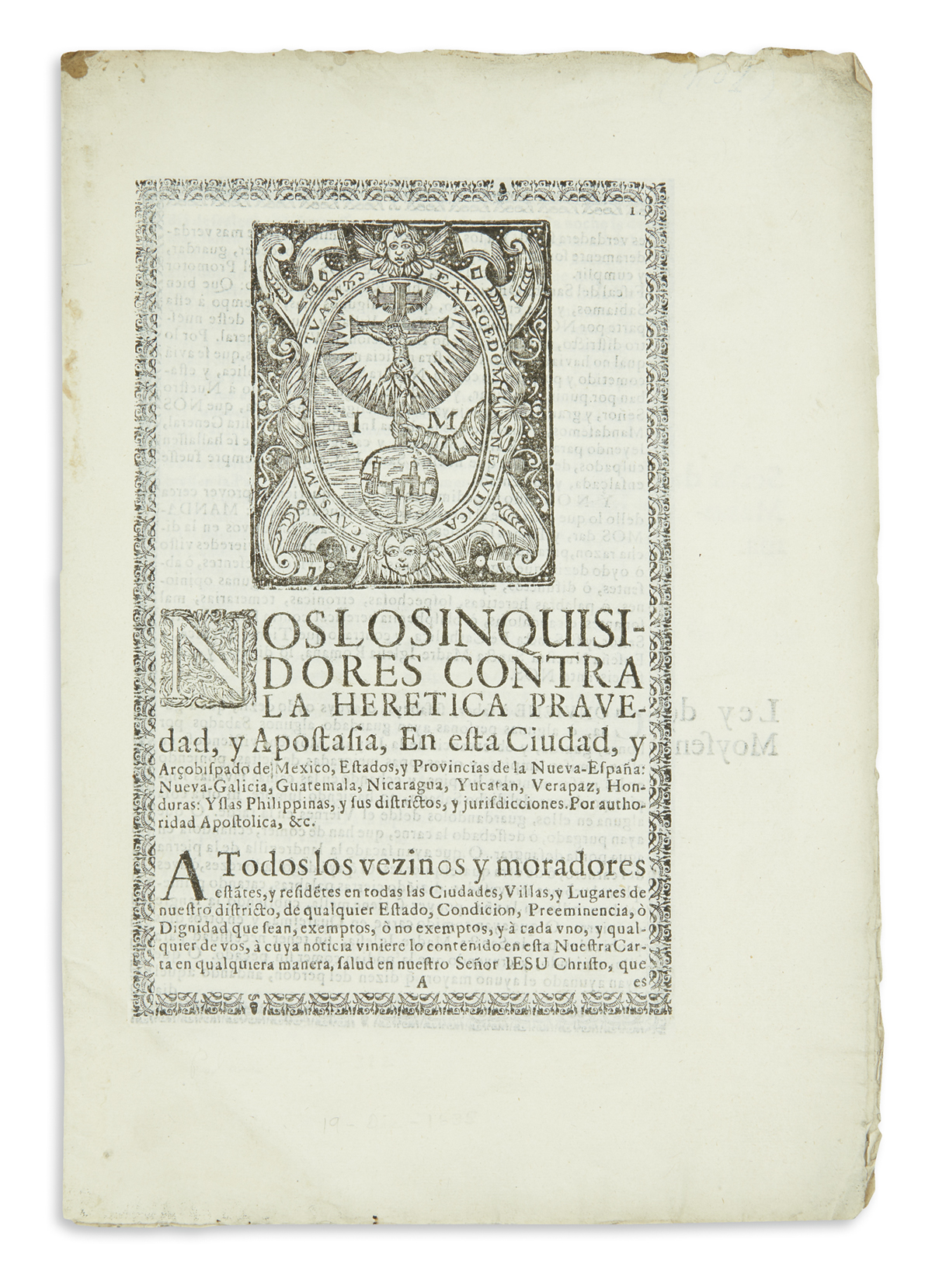 (MEXICAN IMPRINT--1700s.) Inquisition document on the detection of Jews, Moslems, and other heretics.