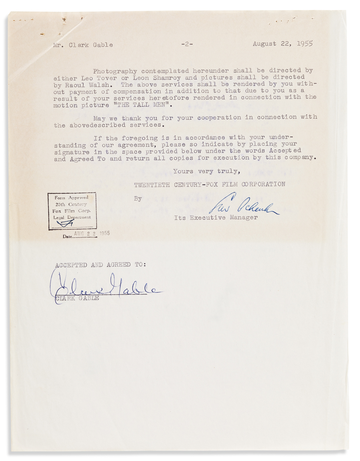 GABLE, CLARK. Typed Document Signed, agreeing to perform in advertisements for the film The Tall Men according to the listed terms.