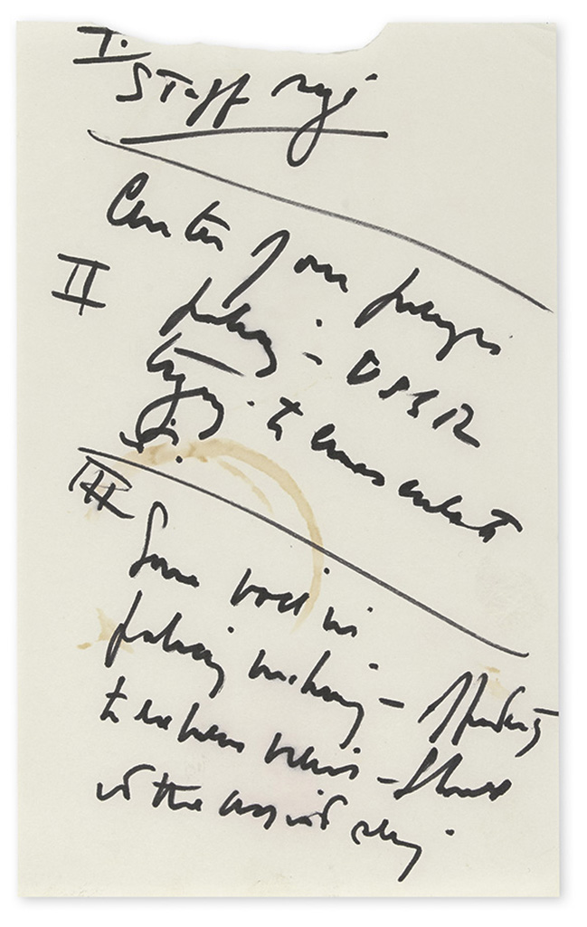 KENNEDY, JOHN F. Autograph Manuscript, unsigned, 6 pages of notes on Cold War topics taken in preparation for an unknown meeting.