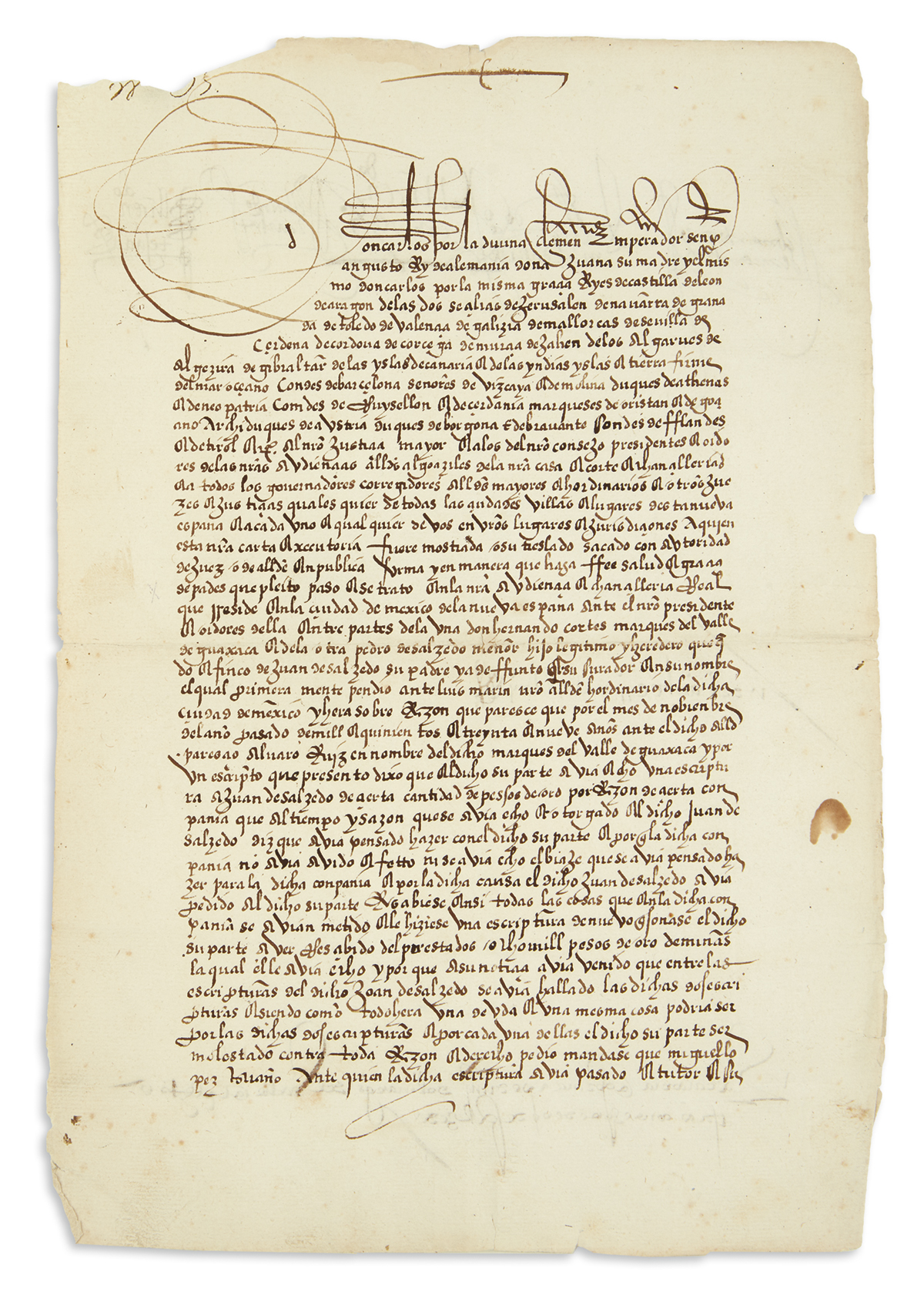 (MEXICAN MANUSCRIPTS.) Mendoza, Antonio de. Decree by the Viceroy of New Spain in a lawsuit against Hernán Cortés.