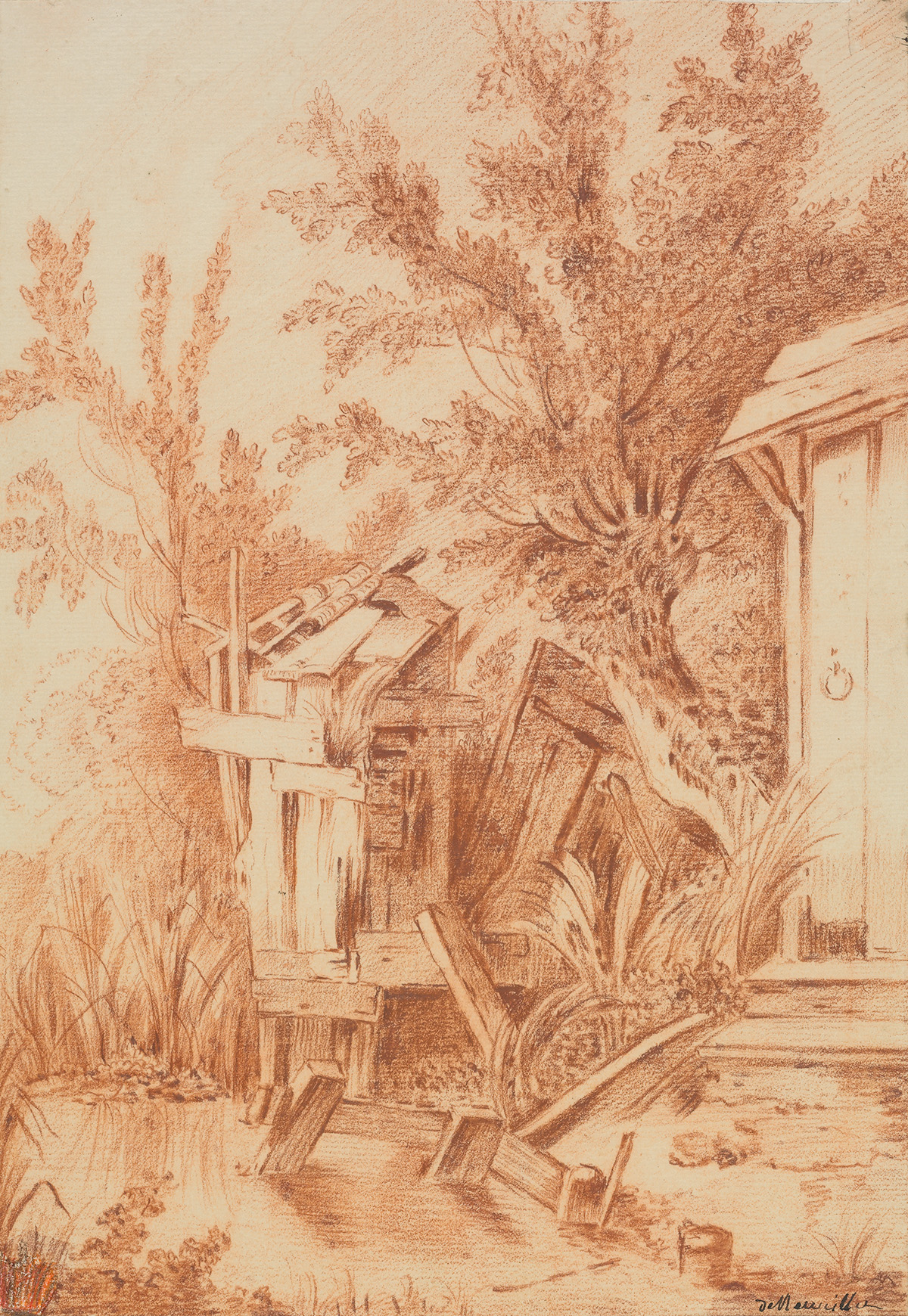 FRENCH-SCHOOL-18TH-CENTURY-A-River-Landscape-with-a-Cottage-