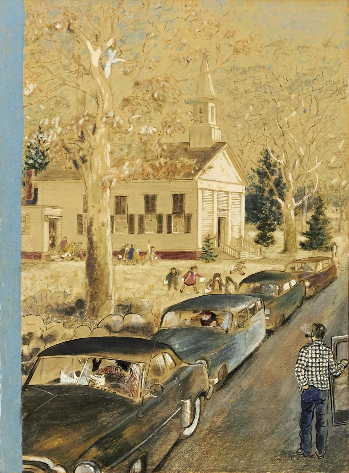 GARRETT PRICE. Emanuel Church, Lyons Plain Road, Weston, Connecticut. [NEW YORKER / COVER ART].