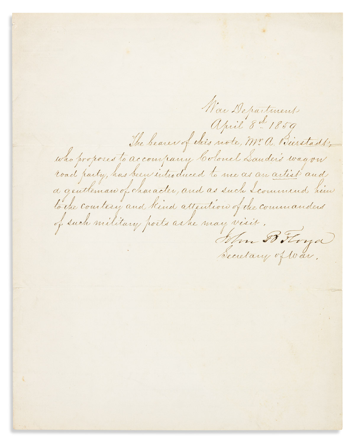 (ART.) John B. Floyd. Letter of recommendation for the painter Albert Bierstadt to bring on his first Western trip.