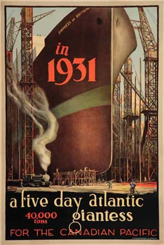 """(CANADIAN PACIFIC LINE.) """"Empress of Britain"""" (II). Empress of Britain in 1931 - a five day Atlantic 40,000 tons giantess."""