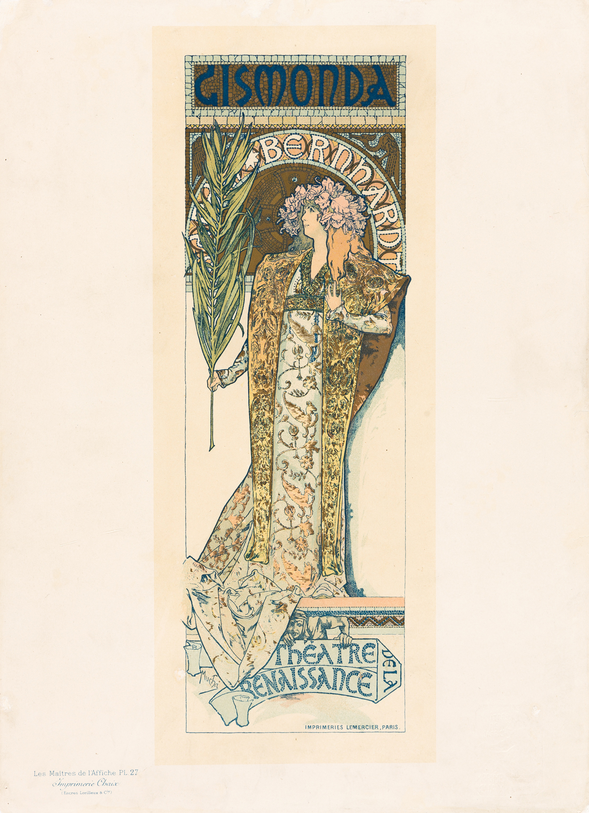 ALPHONSE MUCHA (1860-1939).  GISMONDA. Maîtres de lAffiche pl. 27. 1896. 15x11 inches, 40x29 cm. Chaix, Paris.