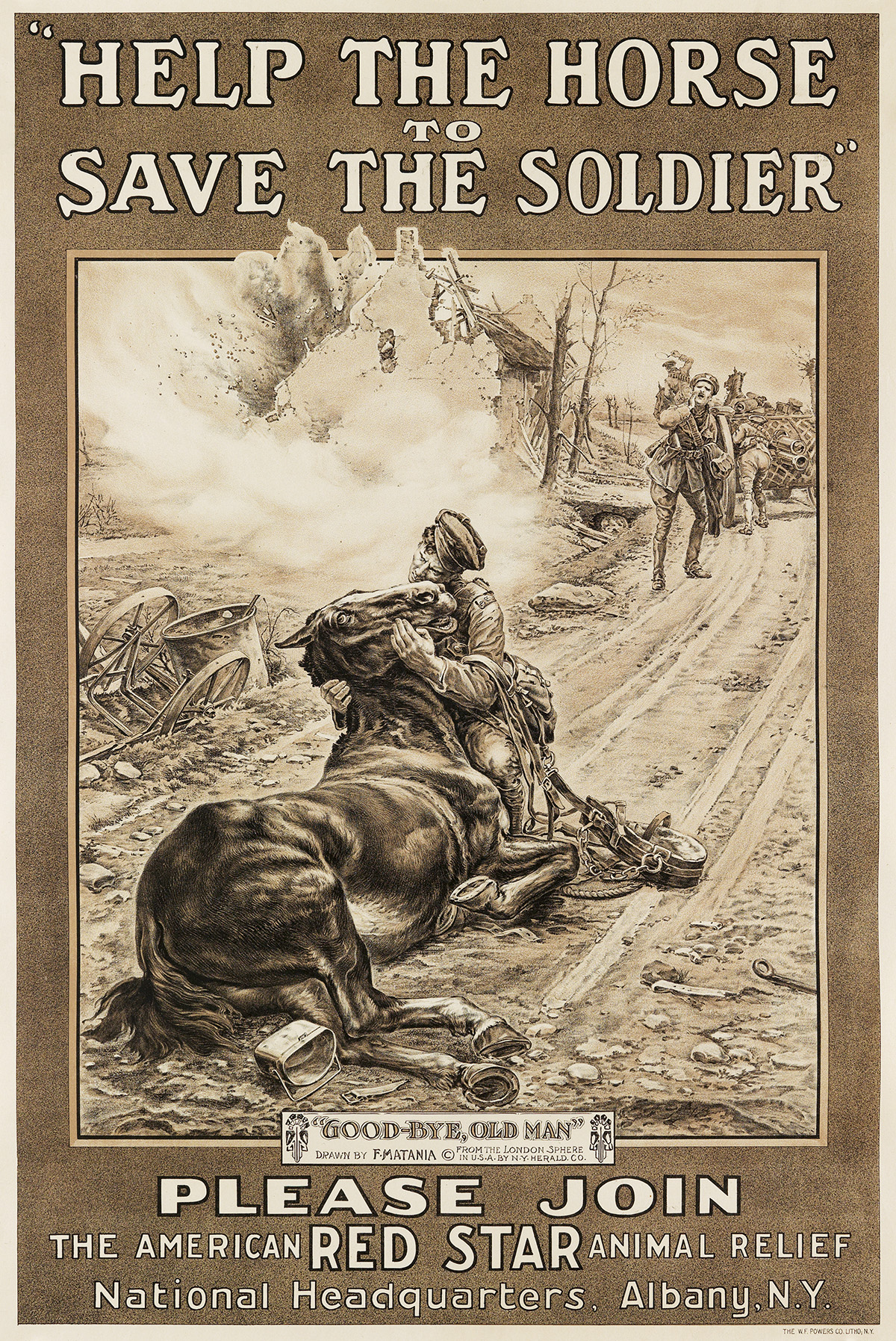 FORTUNINO MATANIA (1881-1963). HELP THE HORSE TO SAVE THE SOLDIER. Circa 1917. 30x20 inches, 76x51 cm. The W.F. Powers Co. Litho., Ne