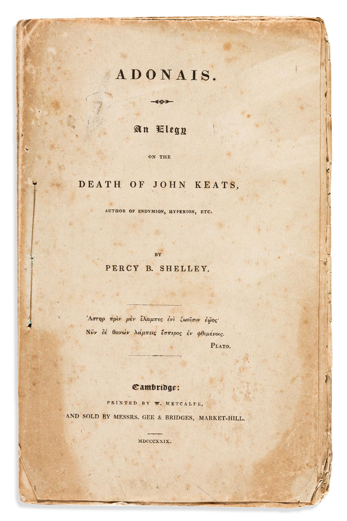 SHELLEY, PERCY BYSSHE. Adonais. An Elegy on the Death of John Keats.