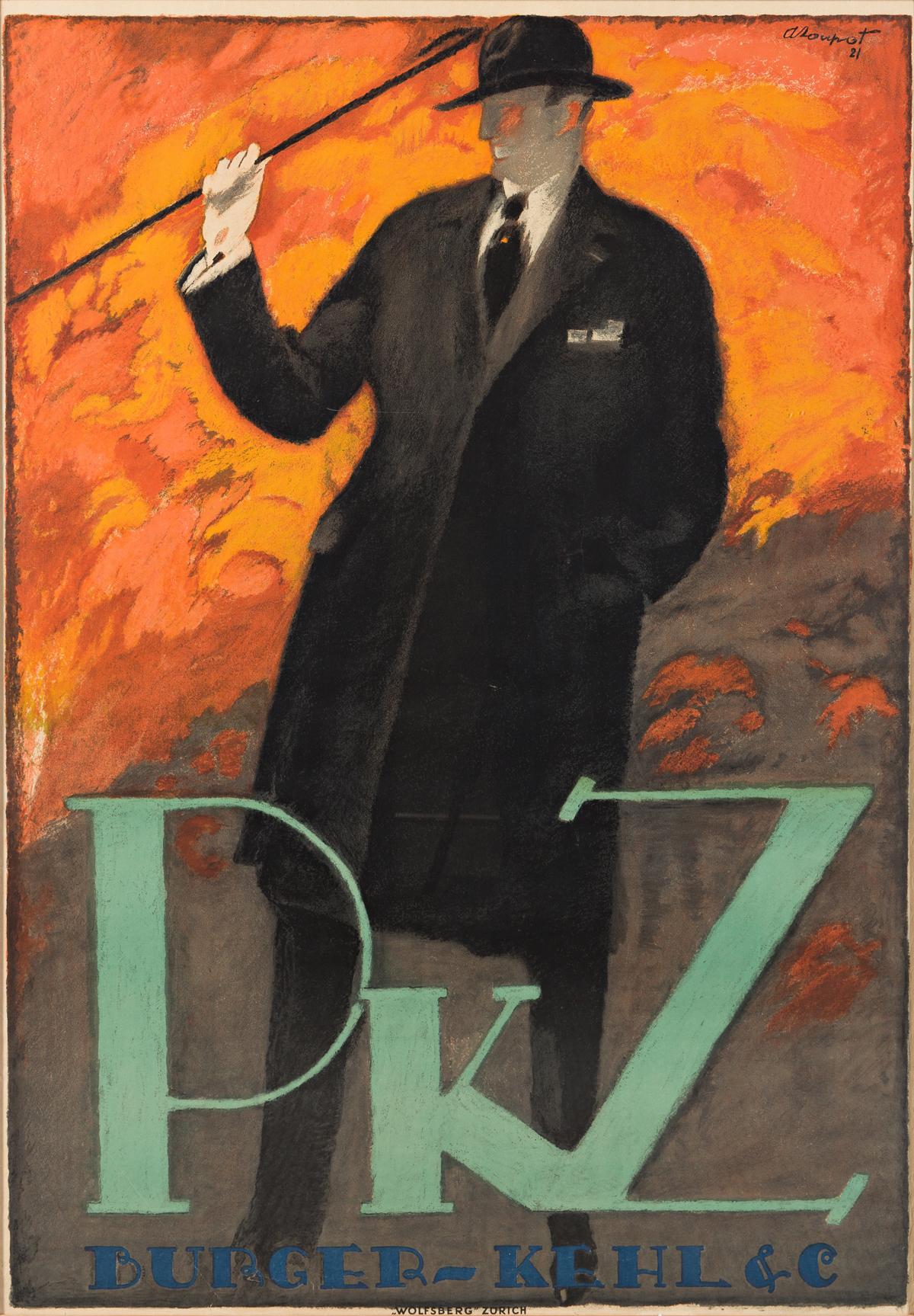 CHARLES LOUPOT (1892-1962).  PKZ / BURGER - KEHL & C. 1921. 49¾x24½ inches, 126¼x62¼ cm. Wolfsberg, Zurich.