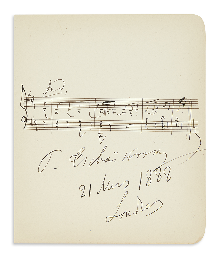 TCHAIKOVSKY, PYOTR ILYICH. Autograph Musical Quotation dated and Signed, P. Tchaikovsky, theme from the finale of his Orchestral Suit