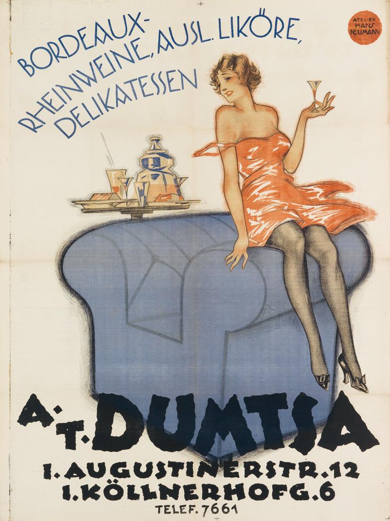 ATELIER HANS NEUMANN. A.T. DUMTSA / BORDEAUX - RHEINWEINE. Circa 1920s. 50x37 inches, 127x95 cm. Atelier Hans Neumann, Vienna.