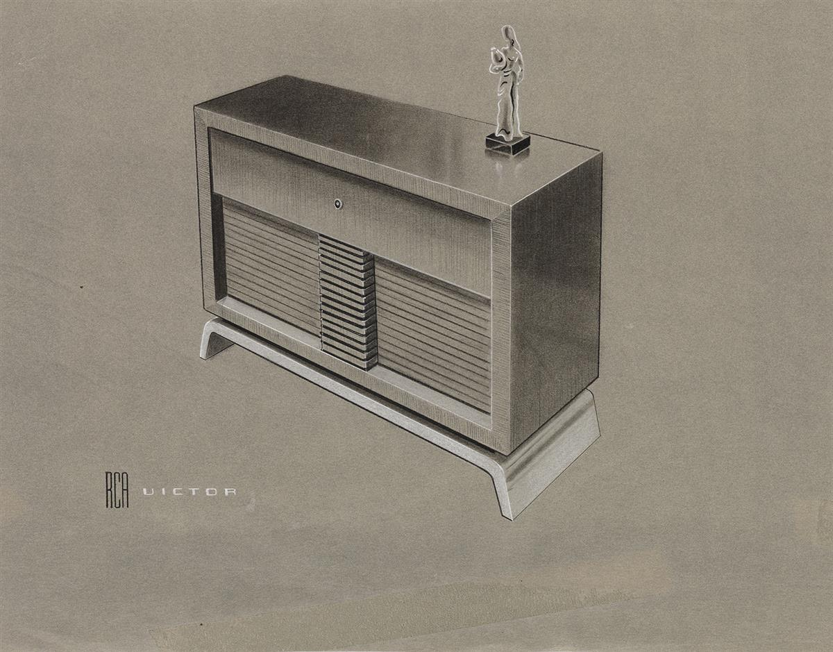 (INDUSTRIAL DESIGN / ADVERTISING.) Designs for RCA Radios.