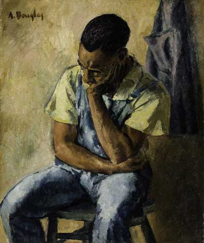 AARON-DOUGLAS-(1899---1979)-Untitled-(Seated-Man-With-Head-R