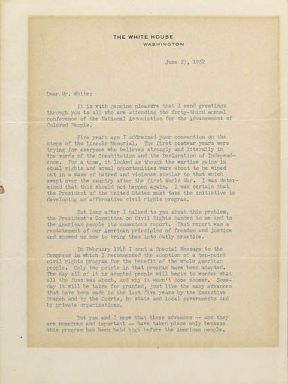 (CIVIL RIGHTS.) TRUMAN, HARRY S. Typed Letter Signed to Walter White, Executive Secretary of the NAACP.