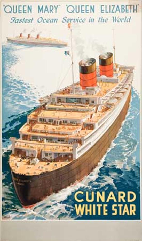 "(CUNARD LINE.) ""Queen Elizabeth."" ""Queen Mary"" ""Queen Elizabeth"" Fastest Ocean Service in the World. Beaut..."