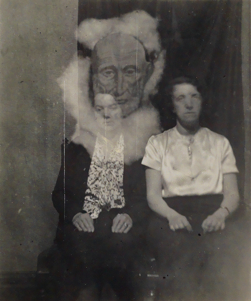 (SPIRITUALISM) Group of 8 photographs of séances in which all sorts of spirits and ectoplasm