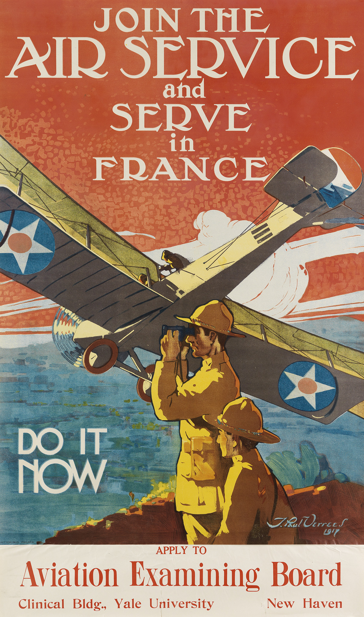 J. PAUL VERREES (1889-1942). JOIN THE AIR SERVICE AND SERVE IN FRANCE. 1917. 42x25 inches, 106x63 cm. Ketterlinus, Philadelphia.
