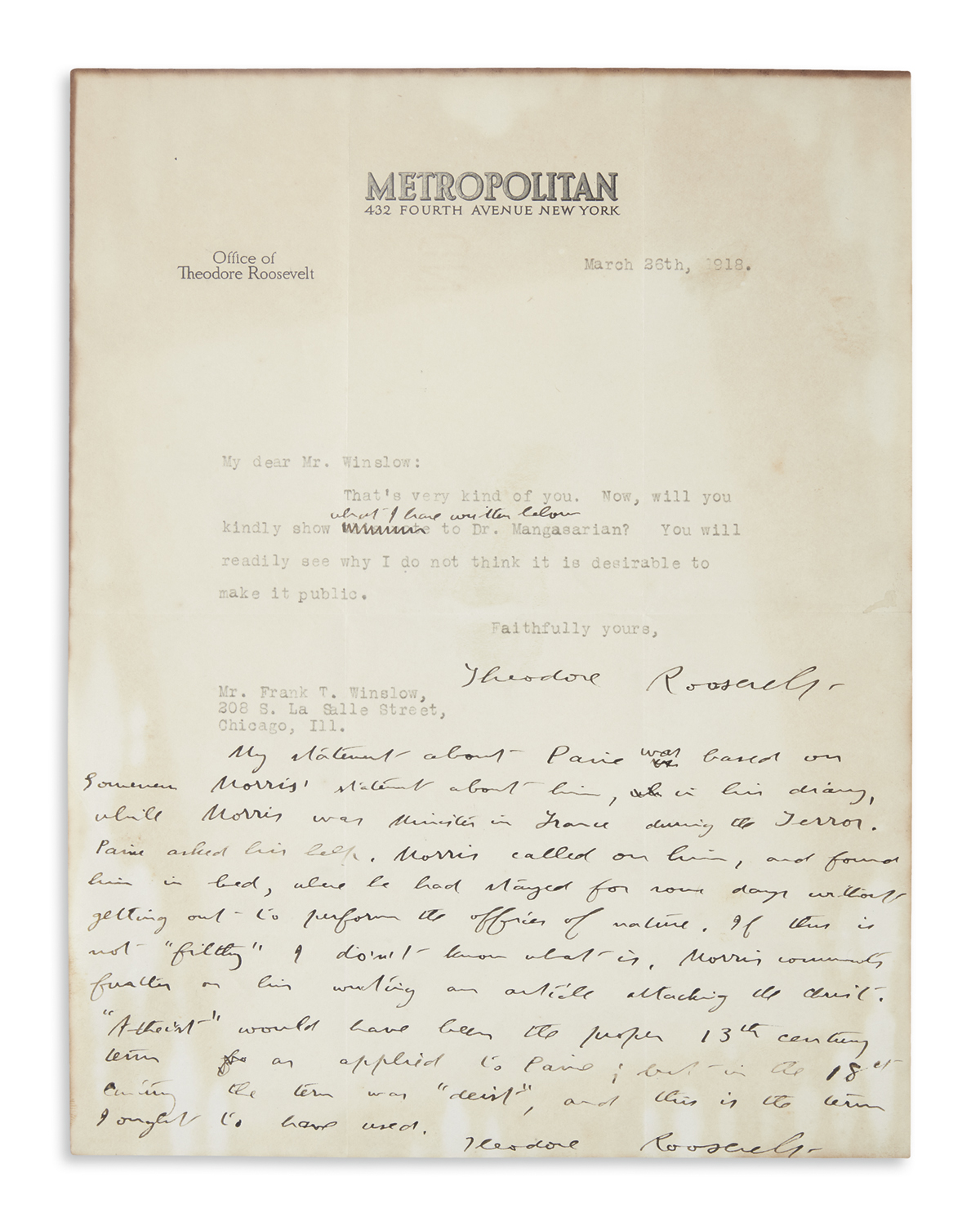 ROOSEVELT, THEODORE. Typed Letter Signed, with a 12-line Autograph Postscript Signed, to Frank T. Winslow (My dear Mr. Winslow),