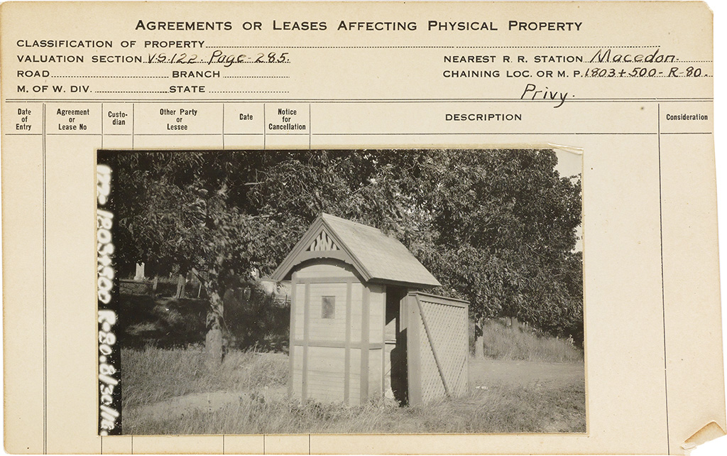 (VERNACULAR ARCHITECTURE) Group of nearly 90 photographs of specially-designed outbuildings with privies, outhouses,