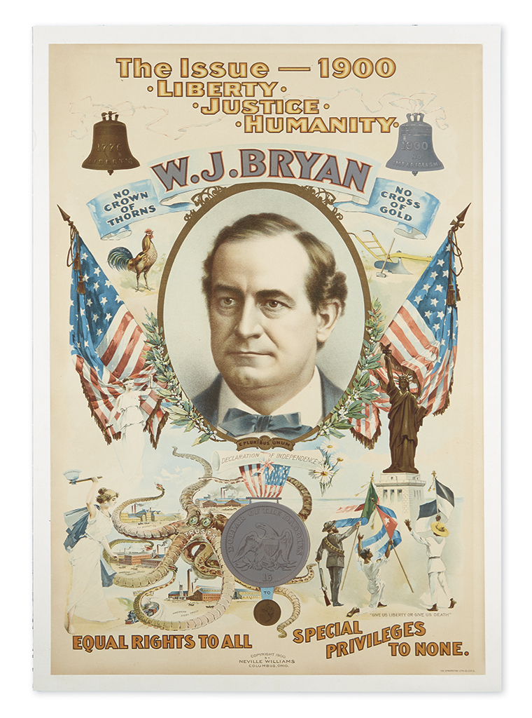 (PRESIDENTS--1900 CAMPAIGN.) The Issue--1900: Liberty, Justice, Humanity.