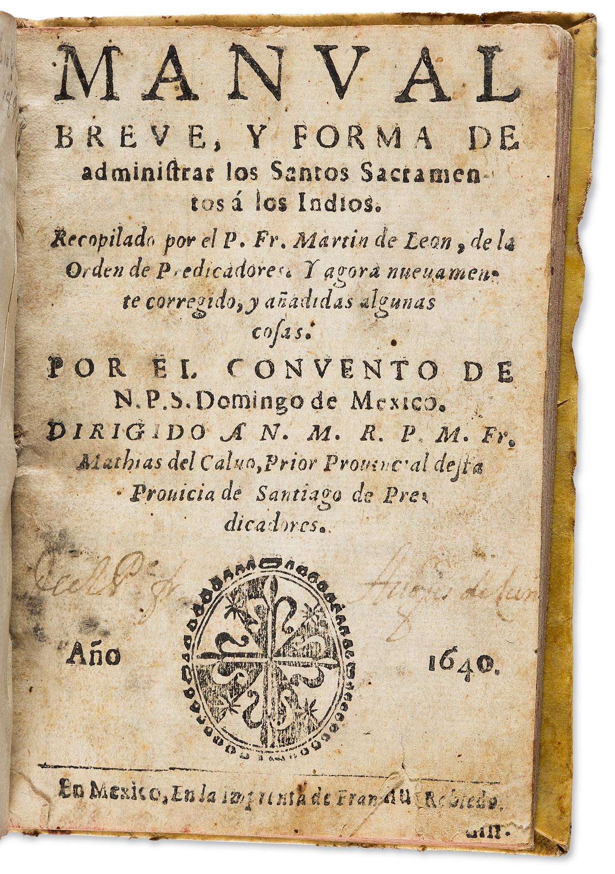 (MEXICAN-IMPRINT--1640)-Martin-de-León-Manual-breve-y-forma-